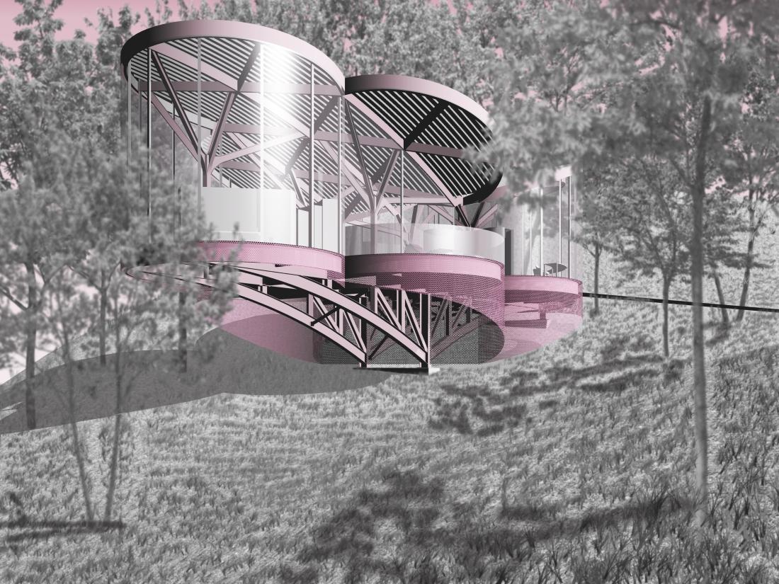 Exterior Render - pink chair